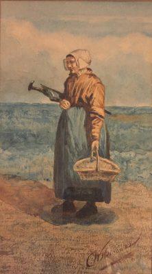 Cornelis Willem Hoevenaar jr.Vrouw met regenscherm en mand aan het strand