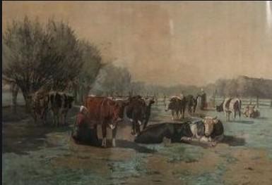 Cornelis Willem Hoevenaar jr. Boerenmeisje, koeien melkend in Hollands landschap