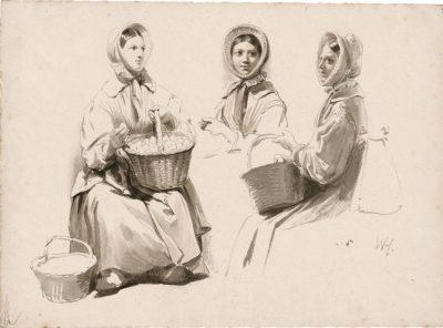 Studie van een jonge vrouw met een mand met eieren