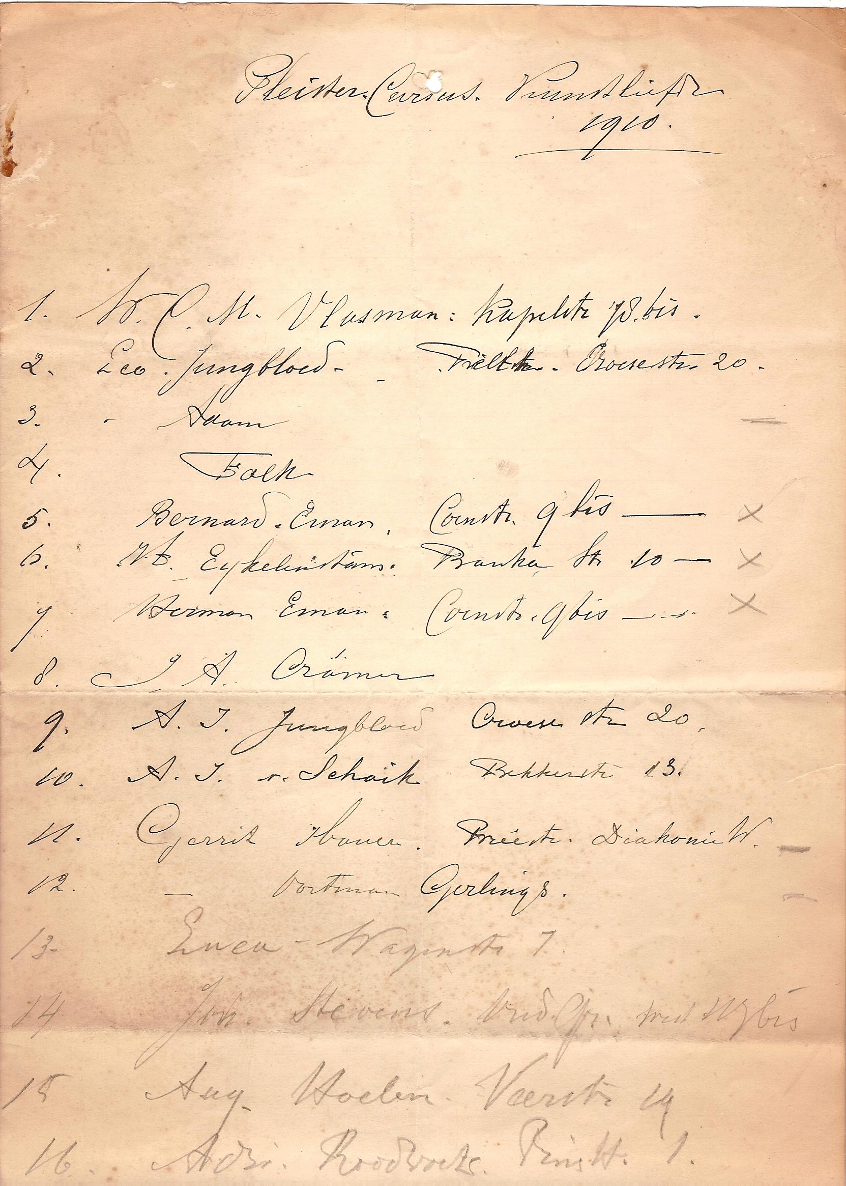 Pleistertekencursus 1910
