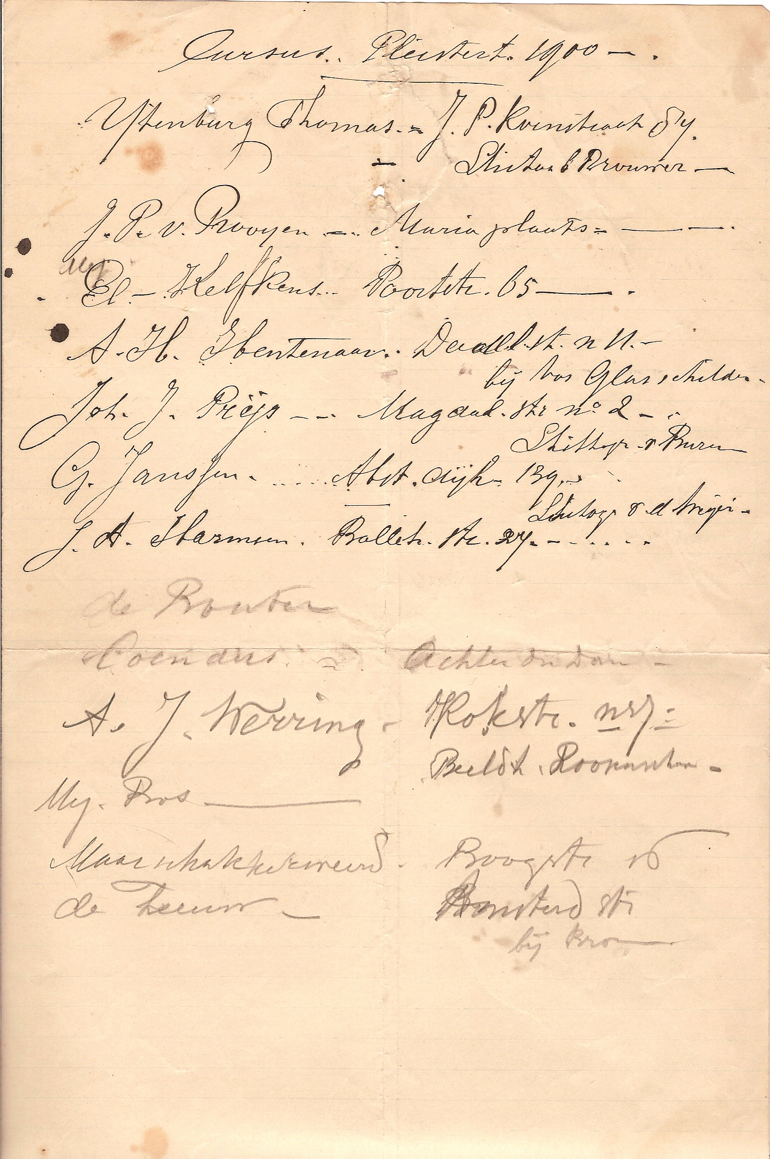 Pleistertekencursus 1900