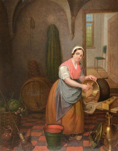 Poetsvrouw in interieur
