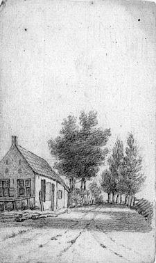 Landweg met huis