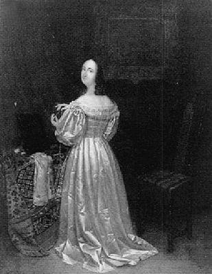 Vrouw in satijnen jurk