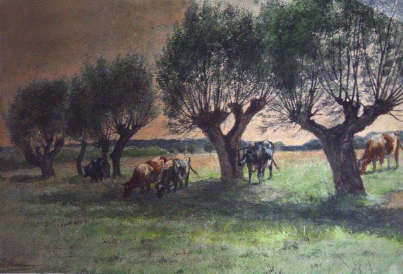 Landschap met koeien en wilgen
