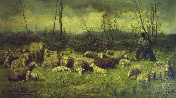 Rustende herder bij zijn kudde