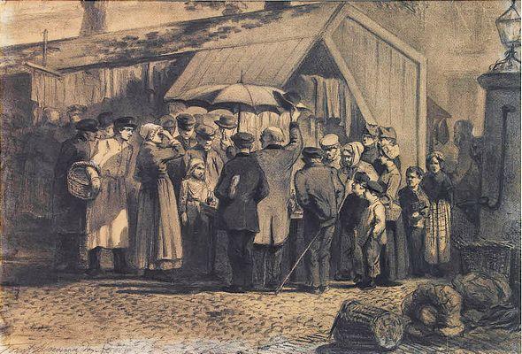 Standwerker op een markt