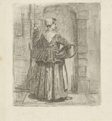 Vrouw in 17e eeuwse kleding