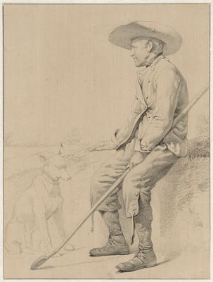 Zittende herder met hond