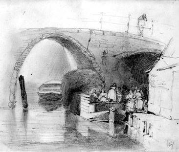 Pakboot onder brug