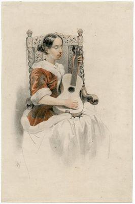 17eeuws meisje met gitaar
