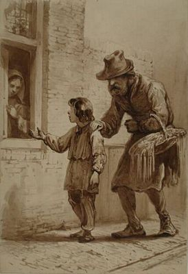 Bedelende jongen met opa