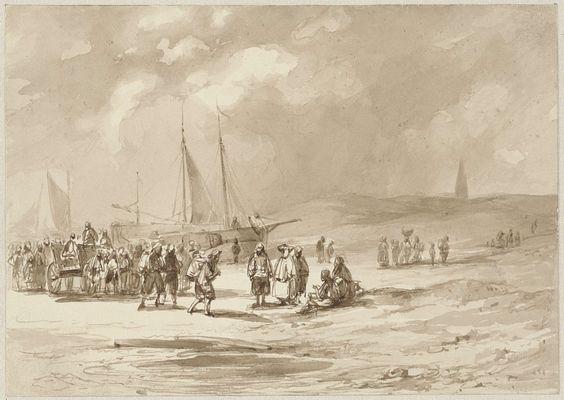 Strand met vissers