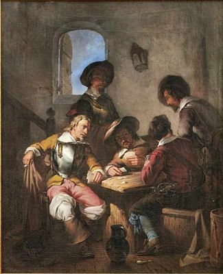 Kaartspelende soldaten in Herberg